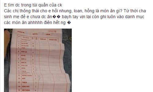 """Ba mon an """"la doi"""" ten Nhung, Loan, Hong tren hoa don trong tui chong"""