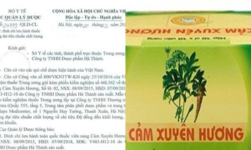 Lai thu hoi thuoc Cam Xuyen Huong cua Duoc pham Ha Thanh