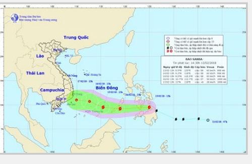 Bão Sanba giật cấp 11 đang tăng tốc vào biển Đông
