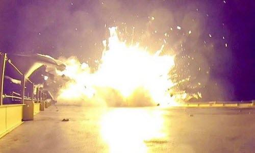 Ten lua day SpaceX no tung khi dap xuong dat
