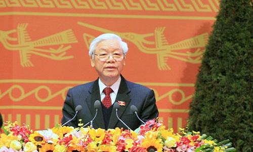 Tong Bi thu Nguyen Phu Trong phat bieu tai chuong trinh chao mung thanh cong DH Dang