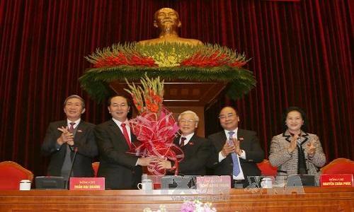 Ong Nguyen Phu Trong tai dac cu Tong Bi thu khoa XII