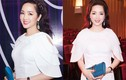 Hoa hậu Giáng My đẹp dịu dàng, sang trọng đi chấm thi