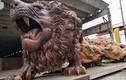 Choáng ngợp tượng sư tử khổng lồ từ gỗ quý gây sốt
