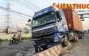Tài xế container ngủ gật khiến xa lộ HN náo loạn