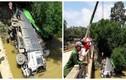 Xe tải bất ngờ mất lái lao xuống sông ở Hà Giang