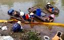 """Vỡ ống dẫn, 300 tấn hóa chất """"lạ"""" tràn sông, dân đổ xô hôi của"""