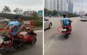 Hà Nội: Đang truy tìm nam thanh niên lái xe máy bằng chân
