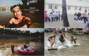 Trò vui bá đạo của học sinh khi sân trường ngập lụt