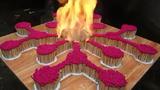 Clip mãn nhãn cảnh đốt 8000 que diêm trên một viên gạch