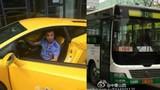 Tài xế xe bus cưỡi Lamborghini đi làm gây choáng váng