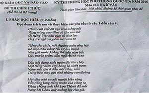 """""""Tiếng Việt như bùn"""", sai sót lớn trong đề thi môn Ngữ văn"""