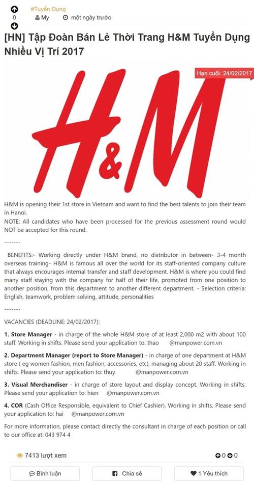 Hot: H&M mo cua hang dau tien o Ha Noi?