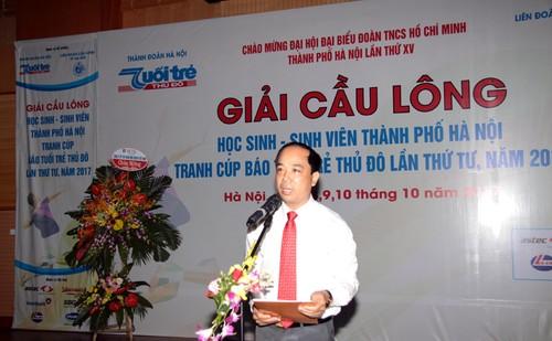 Khai mac Giai cau long HSSV tranh cup Bao Tuoi tre Thu do lan thu IV-Hinh-4