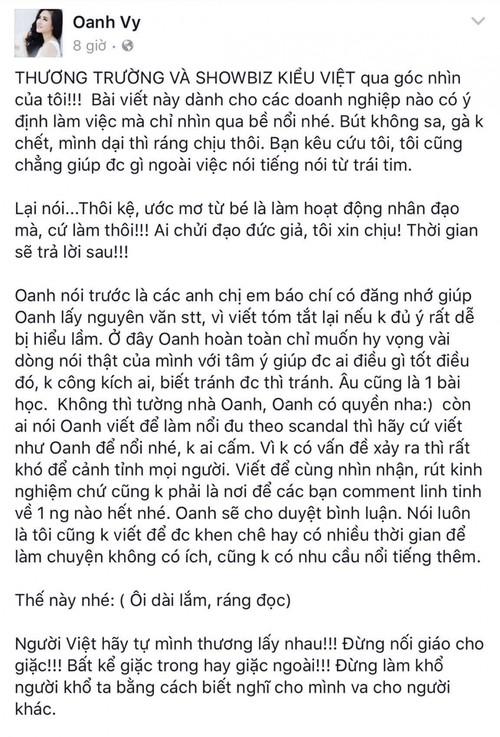 Quan ly cua Thu Minh tuyen bo cach mat Vy Oanh