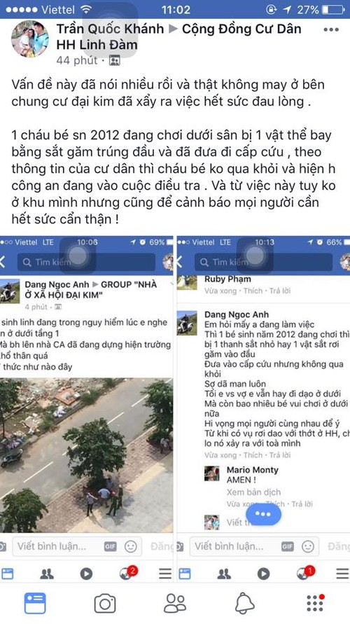 Ha Noi: Vat la o chung cu Dai Kim roi xuong khien be gai trong thuong