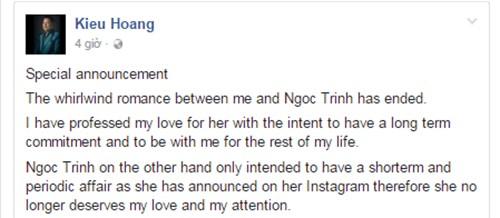 Ty phu Hoang Kieu chia tay Ngoc Trinh khong ly do gay soc