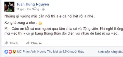 Tuan Hung nhan nhu den Duy Manh: Xong la xong anh nhe!