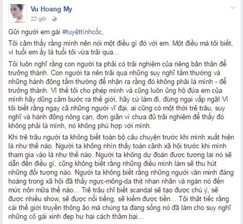 Hoang My viet tam thu gui gai xinh mac ho o Tuyet tinh coc