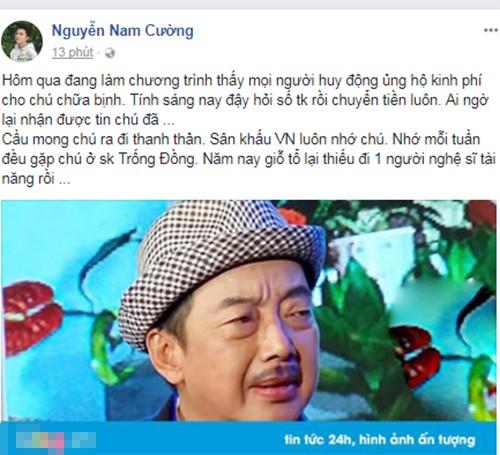 Tran Thanh, Cat Phuong tiec thuong NS Khanh Nam qua doi-Hinh-4