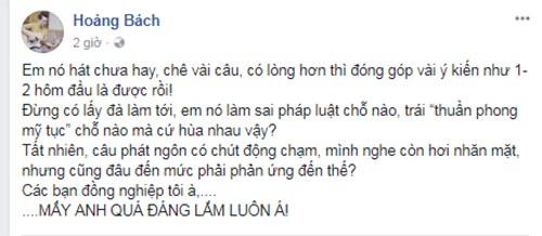 Hoang Bach, Lam Truong phan doi viec de xuat cam Chi Pu di hat-Hinh-3