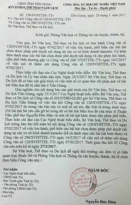 """Tien Giang thu hoi khan cap cong van cam """"Mau hoa do"""""""