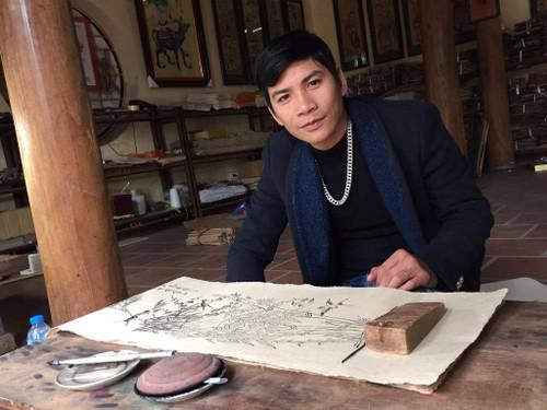 Doc dao tranh Dong Ho voi hinh tuong ga chuc phuc dau xuan-Hinh-2