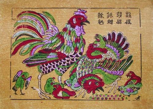 Doc dao tranh Dong Ho voi hinh tuong ga chuc phuc dau xuan-Hinh-4