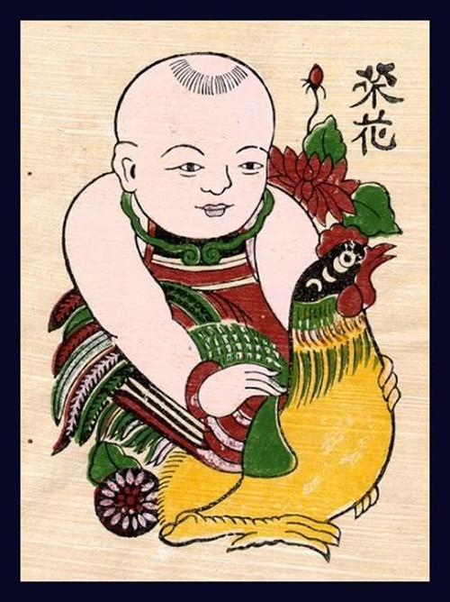 Doc dao tranh Dong Ho voi hinh tuong ga chuc phuc dau xuan-Hinh-5
