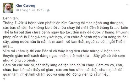 PGS Van Nhu Cuong khoi ung thu gan nho Dong-Tay y ket hop