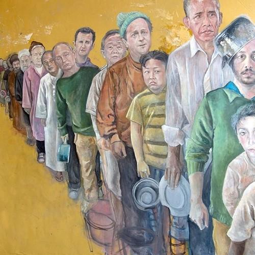 Hoa si Syria bien cac nha lanh dao the gioi thanh nguoi ti nan