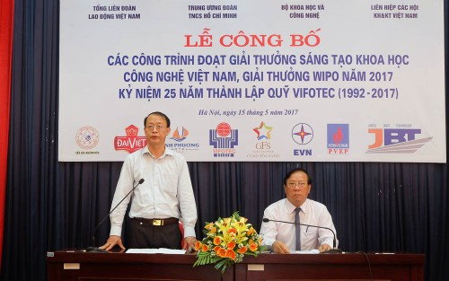 Lien hiep hoi VN cong bo giai thuong sang tao KHCN Viet Nam 2017