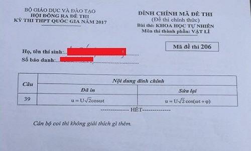 Bo GD-DT noi gi ve ma de mon Vat ly phai dinh chinh?