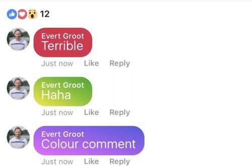 Facebook dang thu nghiem binh luan co mau