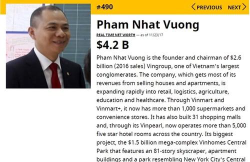 Ty phu Pham Nhat Vuong lot TOP 500 nguoi giau nhat the gioi