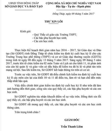 Giam doc So GDDT Dong Thap xin loi vu lo de thi