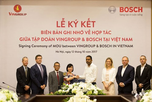Vinfast bat tay Bosch san xuat xe oto made in Viet Nam