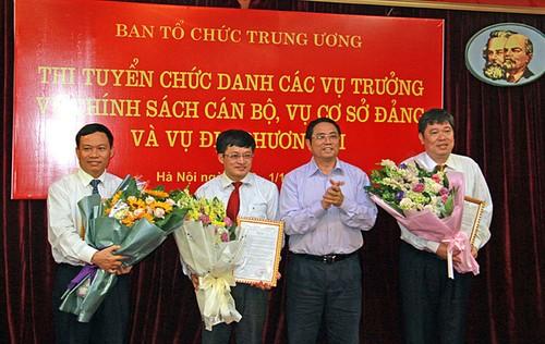 Ban To chuc trung uong chon duoc 3 vu truong moi qua thi tuyen