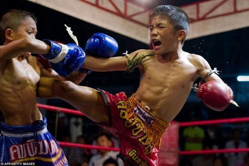 Bi an goc khuat dam mau phia sau mon vo Muay Thai