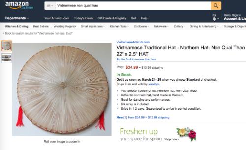 Khung khiep: 500.000 VND mot chiec non la Viet Nam tren Amazon