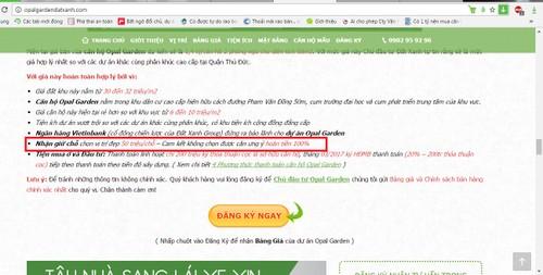 Dat Xanh phu nhan ban can ho Opal Garden dat coc giu cho: Co dang tin?