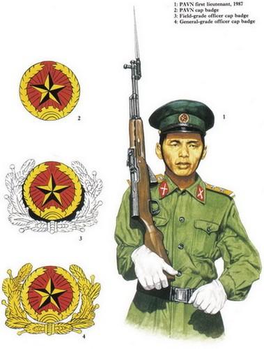 Các loại huy hiệu gắn trên mũ của chiến sĩ và sĩ quan Quân đội Nhân dân Việt Nam năm 1987.