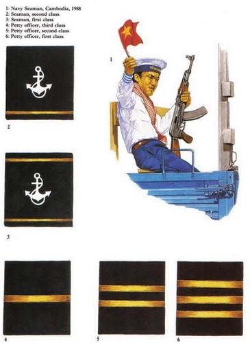 Chiến sĩ Hải quân nhân dân Việt Nam tại Campuchia năm 1988 và các loại phù hiệu cấp bậc trong hải quân.
