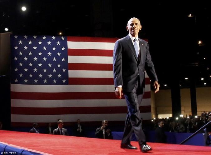 Hinh anh Tong thong Obama trong buoi phat bieu chia tay