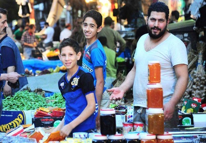 Canh mua sam o Damascus cho thang an chay Ramadan
