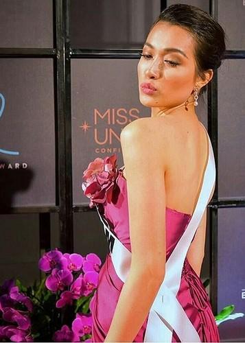 Le Hang goi cam trong tiec chao mung cua Miss Universe