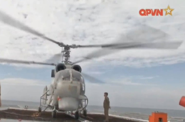 Bat ngo hangar truc thang cua chien ham Gepard Viet Nam