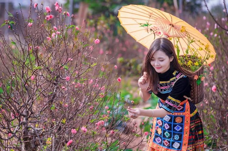 """Hot girl dan toc"" khoe sac trong vuon hoa dao Tet-Hinh-3"