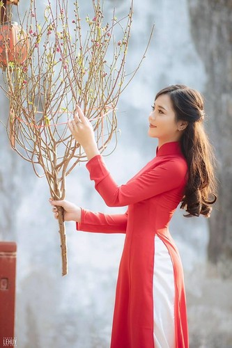 """Hot girl dan toc"" khoe sac trong vuon hoa dao Tet-Hinh-9"