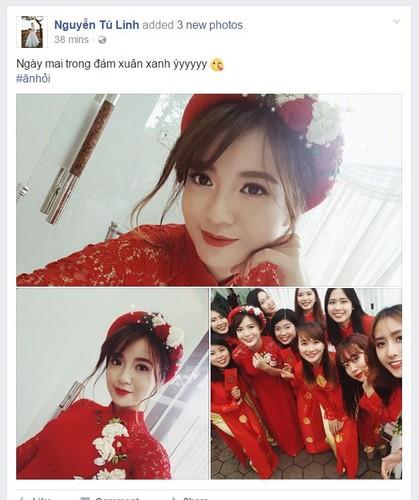Hot girl fan MU Tu Linh rang ro trong ngay an hoi